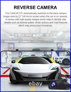 12 Inch 4G WiFi Android 8.1 Car DVR GPS Dual Lens Rearview Mirror Dash Camera
