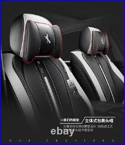 6D Leather Black & White 5-Seat Car Seat Cover Cushion For Interior Accessories