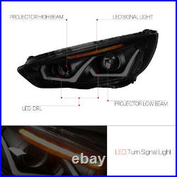 Black Smoke Tinted Dual U-Bar Projector Headlight Amber LED for 15-18 Ford Focus