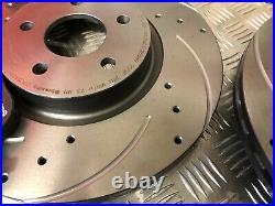 Brembo Front Drilled & Grooved Discs & Pads Ford Focus 2.0 2.5 St Mk2/3 2006-18