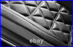Deluxe Edition Black PU Leather 6D Surround Car Seat Cover Full Set Cushion Pad
