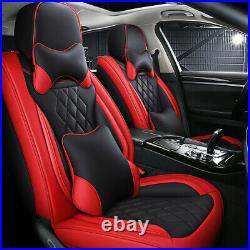 Deluxe Edition Microfiber Leather Seat Covers Cushion Red Black Full Set For Car
