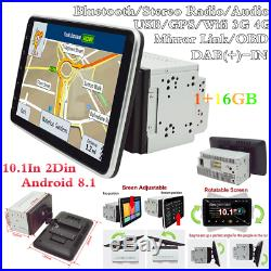 Double 2Din 10.1In Android 8.1 Bluetooth Car Radio Stereo MP5 Player GPS SAT NAV