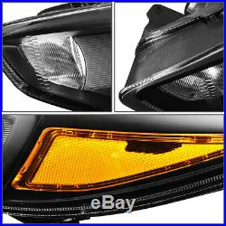 For 15-18 Ford Focus Black Housing Amber Corner Headlight Replacement Head Lamp