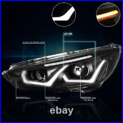 For 15-18 Ford Focus Dual LED DRL Projector Headlight Black Clear Turn Signal