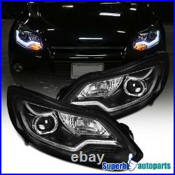 For 2012-2014 Ford Focus Projector Headlights Black with LED Signal Lamps Bar
