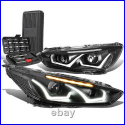 For 2015-2018 Ford Focus Dual LED DRL Projector Headlights+Tool Box Black Clear
