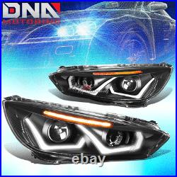 For 2015-2018 Ford Focus Led Drl+ Turn Signal Projector Headlight Black Amber