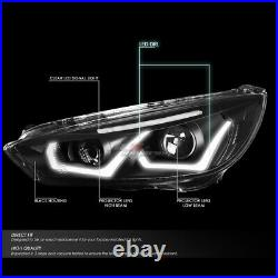 For 2015-2018 Ford Focus Led Drl+ Turn Signal Projector Headlight Black Clear