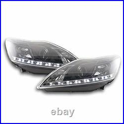 For Ford Focus Mk2 Mk3 08-10 Black DRL Style Projector Headlights Lamp Part