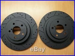 Ford Focus RS 2.0 Mk1 Dimpled Grooved Black Brake Discs Front Rear Brembo Pads