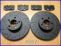 Ford Focus RS 2.0 Mk1 MTEC Dimpled Grooved Black Brake Discs Front Brembo Pads