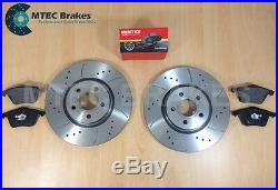 Ford Focus ST225 2.5 Front Drilled Grooved Brake Discs and Mintex Brake Pads