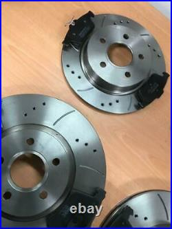 Ford Focus ST225 2.5 Front & Rear Drilled Grooved Brake Discs & Brake Pads