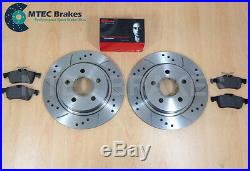 Ford Focus ST225 2.5 MTEC Drilled Grooved Brake Discs Front Rear & Brembo Pads