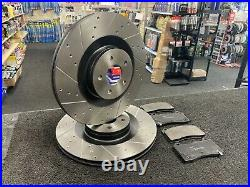 Ford Focus St Mk3 2.3 Rs Brake Discs Cross Drilled Grooved & Apec Brake Pads