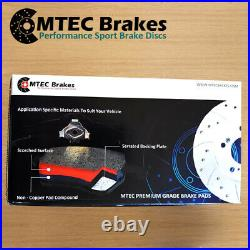 Ford Focus mk2 ST 2.5 ST225 Front Drilled Grooved Brake Discs Plus MTEC PADS