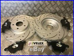 Front Drilled + Grooved Brake Discs + Pads Kit Ford Focus St225 Oe Quality