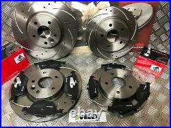 Front & Rear Drilled & Grooved Discs & Brembo Pads Ford Focus 2.0 2.5 St Mk2/3