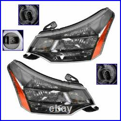 Headlights Headlamps Left & Right Pair Set for 09-11 Focus with Black Chrome Trim