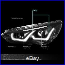 Led Drlfor 15-18 Ford Focus Black/clear Corner Projector Headlight Head Lamps