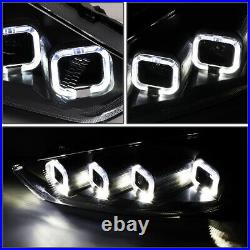 Sequential Halofor 15-18 Ford Focus Full Led Black Clear Projector Headlights
